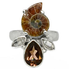 """""""Fossil"""" Ammonite & Smoky Topaz 925 Sterling Silver Ring Jewelry s.7 AR142636"""