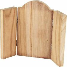 Icon Three Fold Plaque Wood - Triptych Art - Decorate Paint Craft - Hinged Small