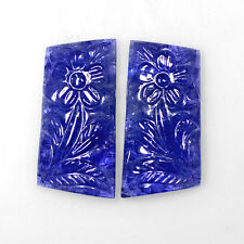 76.46 Cts Natural Lustrous Purple Blue Color Tanzanite Handmade Carving Pair Gem