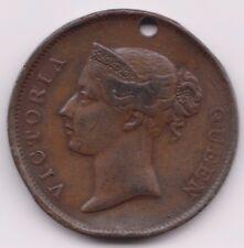 Straits Settlements British India One Cent 1862 holed
