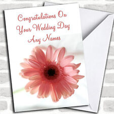 Stunning Pink Flower Romantic Wedding Day Customised Card