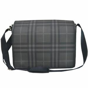 Auth BURBERRY Check Crossbody Shoulder Bag Black/Gray PVC/Leather - 52809a