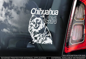 Chihuahua - Car Window Sticker - Dog on Board Sign Art Gift Long-Haired - TYP2