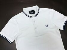 Men's Fred Perry White Two Tipped Blue M1200 Pique Polo Shirt - XS - Stretch Fit