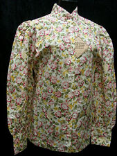 Victorian Frontier Pioneer Pink Rose Floral Vintage style blouse sizes S-3X new