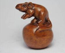 Oriental Boxwood Hand Carving Mouse Netsuke