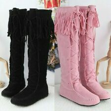 Womens Knee High Boots Tassels Fringe Pull On Flats Moccasin Knight Shoes us sz