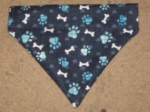 Dog print paw prints & bones on blue & plaid Dog Bandana - 5 sizes XS-XL