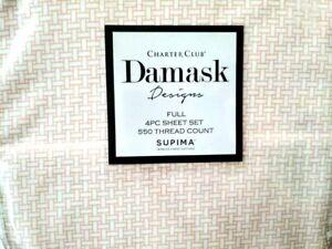 CHARTER CLUB DAMASK COLLECTION WOVEN BLOCK SORBET ORANGE 550TC FULL SHEET SET