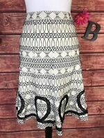 WD NY Skirt size 8 Ivory Linen Black Embroidery Knee A Line Lace Modest Wedding