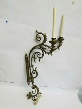 Antique Ornate Brass Electric Wall Sconce Double Arm 2 Candle Lamp Light