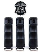 3 PACK Police Magnum Pepper Spray 1/2oz Black Flip Top Keychain Defense Security