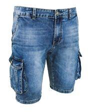 Jeans Pantaloni corti uomo blu denim shorts bermuda cotone con tasconi laterali