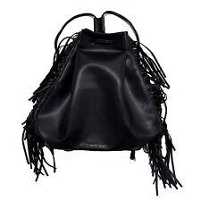 Victoria's Secret Backpack Black Fringe Cinch Bag Purse Drawstring Bookbag New