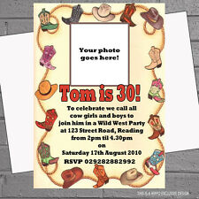 Photo Birthday Party Invitations Personalised Cowboy Western Rodeo x 12 H0359