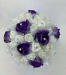 Hand-tied artificial flower purple/white foam diamante roses wedding bouquet