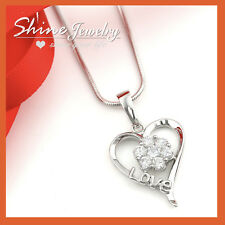 18K GOLD GF SILVER LOVE HEART CT DIAMOND ANNIVERSARY DRESS PENDANT NECKLACE GIFT