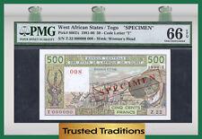 "TT PK 806Ts 1981-90 WEST AFRICAN STATES 500 FRANCS ""SPECIMEN"" PMG 66 EPQ POP 2"