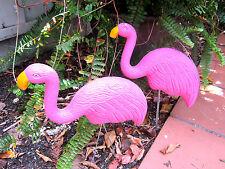 "Pink Sturdy Plastic 2 Flamingos 17"" Garden Stakes Brand New!"
