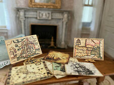 Vintage Miniature Dollhouse Collection Aged Ship Art & Oceania Maps Hand Made