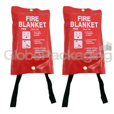 2 x QUALITY QUICK RELEASE LARGE FIRE BLANKETS 1M x 1M - HOME WORKPLACE KITCHEN