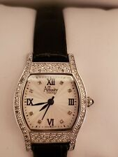 Affinity Diamond 4/10 Ct Tw Sterling Watch w. Leather Strap