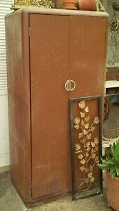 Antique Brown Metal Cabinet Art Deco Industrial Rust & Wear Door Needs Repair