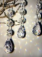 12pcs Acrylic Crystals Chandelier Lead Lamp Prisms Parts Hanging Pendent Garland