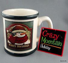 Coffee Mug Crazy Mountain Holiday Snowman Winter Blessings Christmas 12oz New