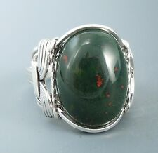 Sterling Silver Heliotrope Bloodstone Cabochon Wire Wrapped Ring