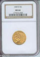 1909-D $5 INDIAN GOLD COIN NGC MS64 MS-64 BEAUTIFUL Near GEM NO spots !!!
