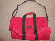 "VTG La Man't Acces Red Crinkle Nylon Duffle Bag W/ Shoulder Strap 19X9.5X10.5"""