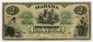 1872 $2 The Deposit Savings Association of Mobile, ALABAMA Note