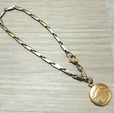 Chic New York Round Small Medallion Charm in Two-tone Stainless Bracelet #SALE