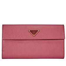 Prada Long Saffiano Leather Wallet - Peonia