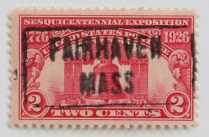 SOTN Fairhaven Mass Box Cancel on 2c Liberty Bell 1926 Scott #627 Carmine Rose