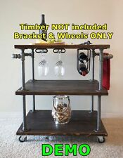 Industrial DIY Pipe Storage Shelf Kitchen Table with Castor Wheels & Brake DW46