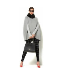 IMAN Platinum Luxe Cashmere Cape Faux Fur Collar HEATHER GRAY XS/S NEW