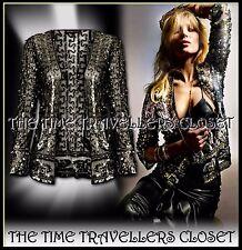 Kate Moss Topshop Schwarz Sheer Mesh Gold verziert befleckt Pailletten Jacke UK10