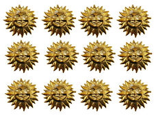 12 pcs Gold Tone Plastic Smiling Sun Face 3-D Craft Findings Charms Large 2""