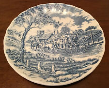 Vintage Saucer Plate For Coffee Churchill Royal Mail Blue Wessex Coach England