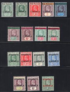1908-10 New Hebrides. SC#1-16. SG#1-16. Mint, Lightly Hinged, VF.