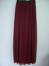 Skirt  Ladies Sheer Long Skirt With Enclosed Solid Mini Wine Plum Burgundy New