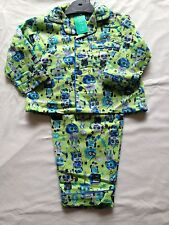 BNWT Boys Sz 1 Lime Green Robot Print Long Style Flannel Winter Style PJ Pyjamas