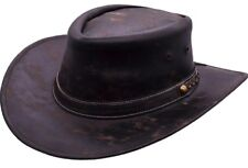 Real Leather Cowboy Hat Stetson Aussie Brown Handcrafted Festival Vintage Look