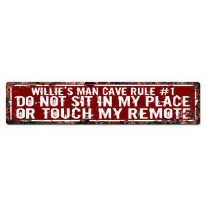 SPFR0061 WILLIE'S MAN CAVE RULE Street Tin Chic Sign Home man cave Decor