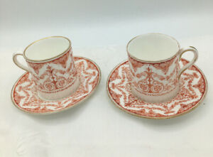 Antique Victorian Wedgwood Coffee Cups And Saucers Duos Circa 1878-1900