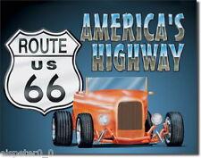 Blechschild 31 x 40, Route 66 Roadster, USA Werbeschild Art. #729