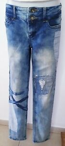 Handmade Upcycled Jeans Pants Patchwork Manding EUR M 40 US 8 Unisex Blue Cool