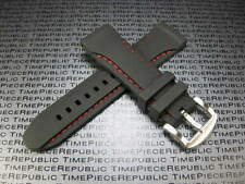 24mm HQ Black Rubber Diver Strap Watch Band Pam 1950 24 mm Red Stitch